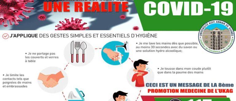 Article : Coronavirus en Guinée, le message de la 8ᵉ promotion de médecine de l'université Kofi Annan